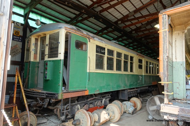 """Chicago Rapid Transit car 4146, a """"Baldy,"""" was built by Cincinnati Car Company in 1915 as one of our first all-steel """"L"""" cars. The four separate """"L"""" companies had come under joint operation a few years earlier, and previously just had wood-steel cars that were ordered for an individual line. The center doors on these cars were never used."""