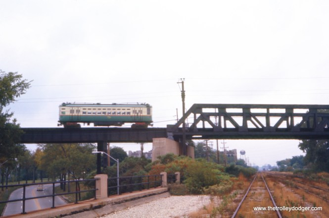 A CTA Skokie Swift train crosses McCormick Boulevard on September 20, 1966. (James P. Marcus Photo)