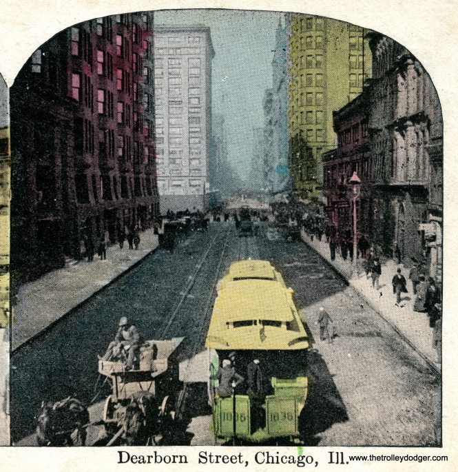 Cable car 1836 is part of a two-car train on Dearborn Street, circa the 1890s. This is a colorized photo.