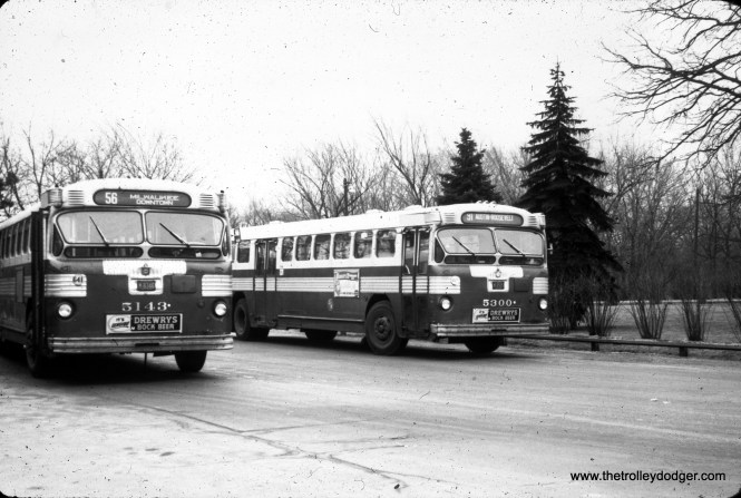 CTA buses 5143 and 5300 at the Imlay loop, which is still in use today.