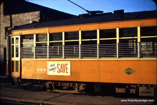 Milwaukee streetcar 998 in the 1950s.