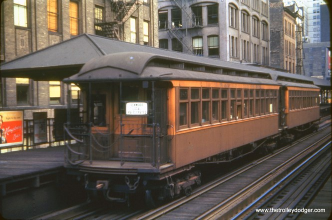 """CTA gate car 322 is signed as a Kenwood Local on Chicago's Loop """"L"""" in July 1`1948. Kenwood became a shuttle, running only as far as the Indiana Avenue station, in August 1949 as part of CTA's major revision of north-south service."""
