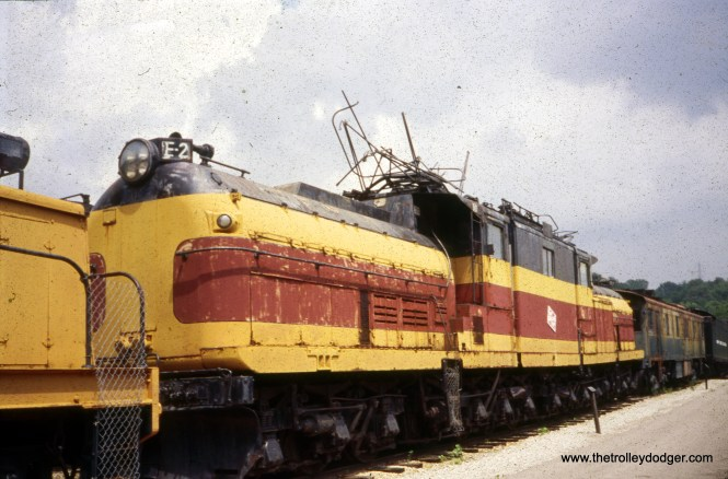 """Milwaukee Road """"bipolar"""" electric loco E-2 on display at the National Museum of Transportation in Kirkwood, MO on August 2, 1995. (William Shapotkin Photo)"""