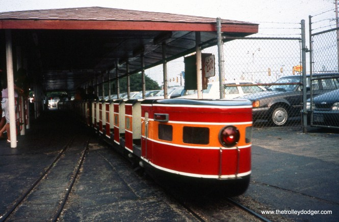 The observation car on the Kiddieland Express at Kiddieland amusement park in Melrose Park, IL in August 1992. (William Shapotkin Photo)