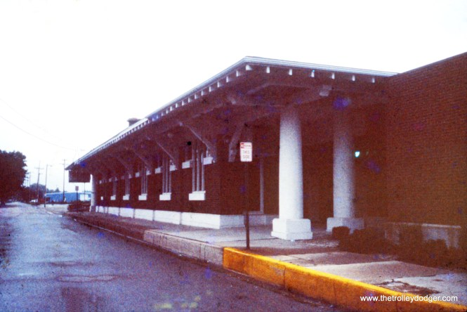 This is one of the North Shore Line stations designed by Arthur U. Gerber. But which one? My guess is Kenosha. The original slide, from November 1987, was so underexposed that it almost looked opaque, but I did what I could with it.