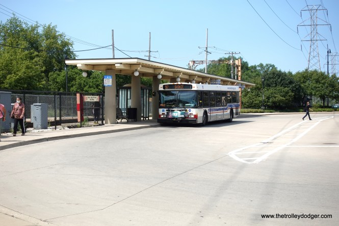 The bus turnaround area has a shelter that is stylistically in keeping with the Dempster Street Terminal.