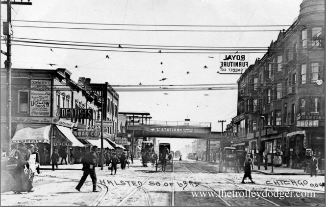 """Halsted looking south from 63rd Street. This picture was taken some time between 1907 and 1910. This station on the Englewood """"L"""" has been rebuilt twice since then and is still in use today as part of the CTA Green Line."""