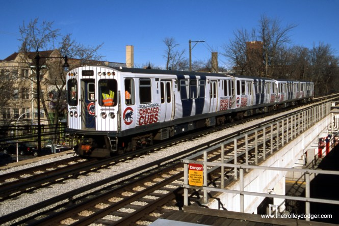 Photographer Bruce C. Nelson took this picture of CTA 5695-5696 on February 19, 2017, when these cars (and two others), decorated to celebrate the Chicago Cubs winning their first World Series since 1908, were used on a fantrip sponsored by the Central Electric Railfans' Association (and made possible by a substantial donation by the late Jeffrey L. Wien).