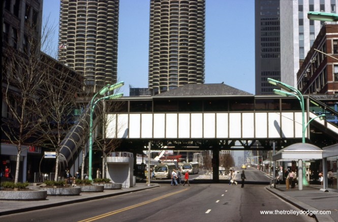 """This shows why I am fully in favor of the recent plan to replace the State and Lake station on the Loop """"L"""" with something new and modern. There was little left of the original station anyway, due to previous renovations and a fire. Clark Frazier took this picture looking north from State Street on April 21, 1980."""