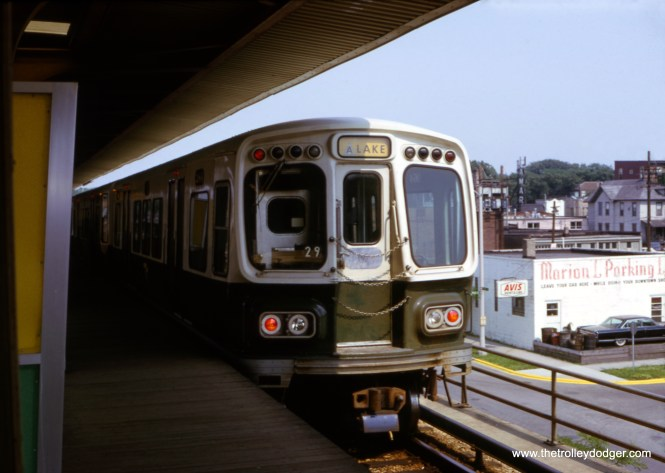 """A Lake Street """"L"""" A train prepares to head east from the Harlem terminal in September 1966. These cars were two years old then, and the line had only been elevated here four years earlier."""