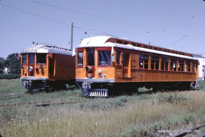 Here is a slide I did not win. It shows two interurban cars on the Iowa Terminal in August 1967. Waterloo & Cedar Falls Northern 100 had just been restored, but unfortunately was destroyed in a fire a few months later. The fate of the North Shore Line box express motor car is less clear. The number seems to be 34, and according to Don's Rail Photos this car should have been somewhere else in 1967, although it does say it too was destroyed by fire.