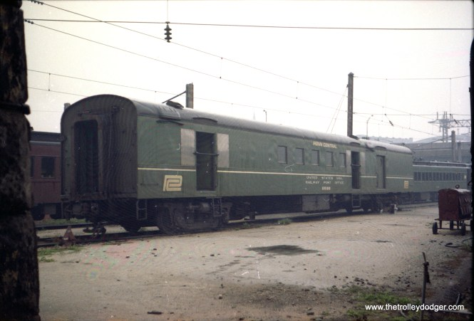 Penn Central RPO cars in Baltimore. PC still had one or two Baltimore-NY set out mail cars in the late '60s, of various lineage