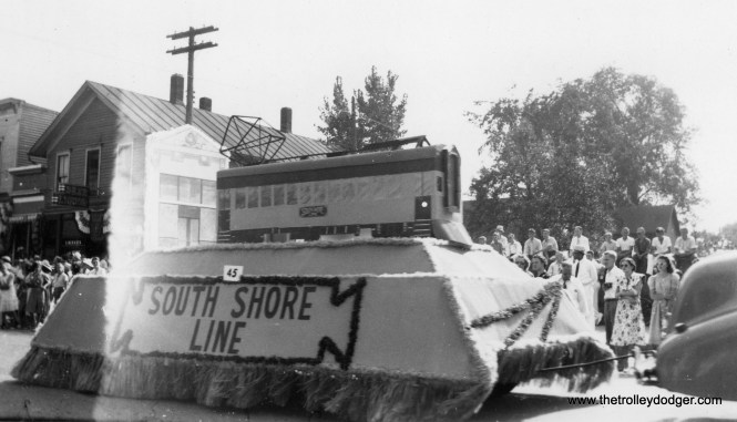 A South Shore Line float in a Michigan City parade.