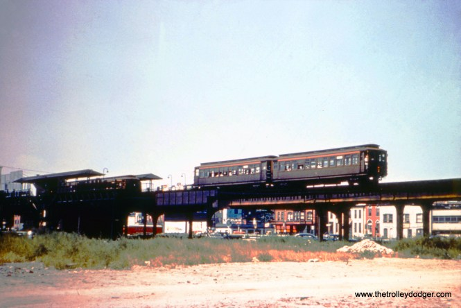 """This is the old Ogden Avenue station on the Garfield Park """"L"""", on August 22, 1953. This station closed on September 27 and the structure here was demolished soon thereafter. Garfield trains were temporarily relocated to run on ground level in Van Buren Street."""