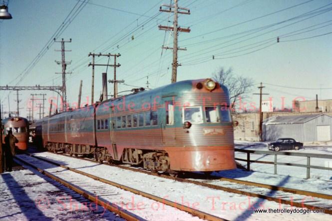 Two Electroliners meet in Waukegan by William D. Volkmer, 1/16/60.