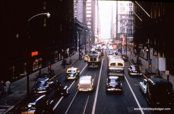 Looking north along Dearborn Street on November 26, 1954, after both Clark and Dearborn were converted to one-way streets. The Monadnock Building is at left. (William C. Hoffman Photo, William Shapotkin Collection)