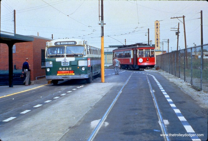 On May 16, 1954, CTA red Pullman 579 is at the Western and 79th turnaround loop on a CERA fantrip. During this period, streetcars were used on Western during weekdays only, so the fantrip cars did not impede regular traffic. (William C. Hoffman Photo, William Shapotkin Collection)
