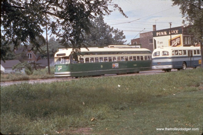 CTA PCC 7235 at Western and 41st on August 14, 1955. (William C. Hoffman Photo, William Shapotkin Collection)