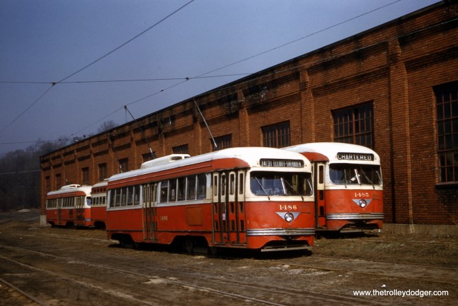 Pittsburgh 1486 and 1485 rest at Ingram carhouse in 1959. (Clark Frazier Photo)