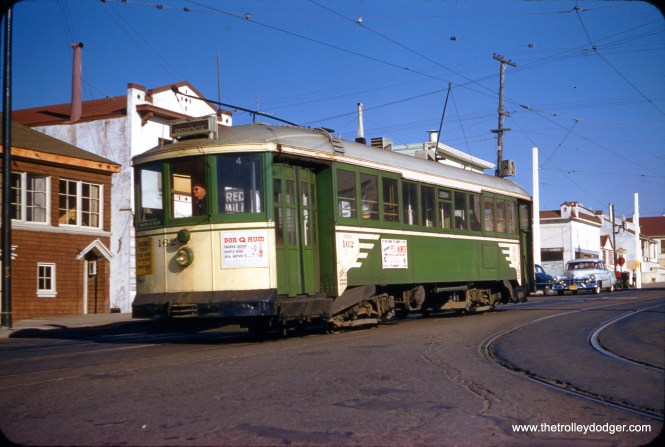 """SF Muni """"Iron Monster"""" 162 at La Playa (48th), approaching the N Line terminus on December 16, 1956. (Clark Frazier Photo)"""