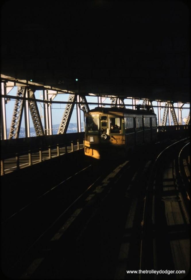 Key System 167 is an A Train east of Yerba Buena Island on the Bay Bridge on April 18, 1958. (Clark Frazier Photo)