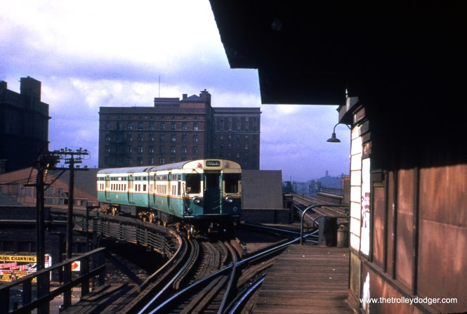 A CTA two-car train of 6000s, running on the Douglas Park line, heads east onto the Metropolitan main line at Marshfield Junction. Since a train is visible on the Garfield Park portion, the date cannot be later than September 1953, and is likely a couple years before that. (Truman Hefner Photo)