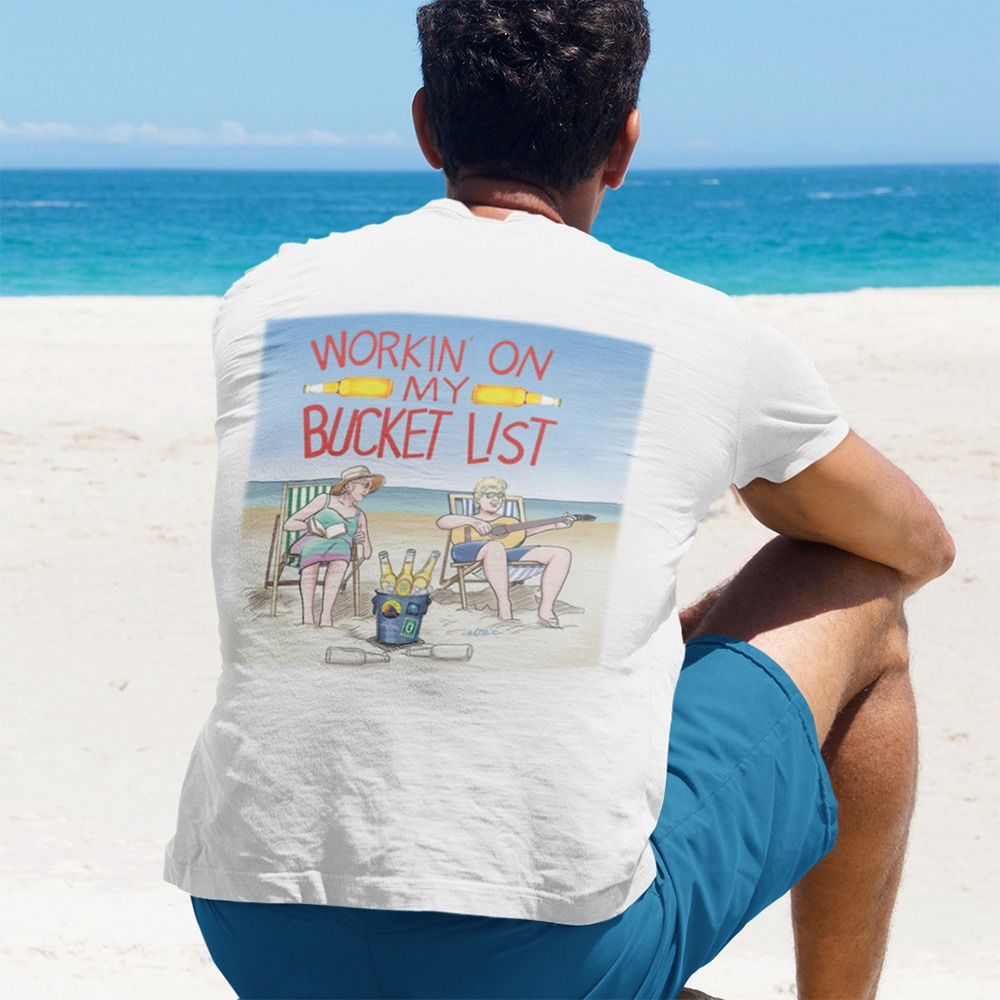 Johnny Russler and the Beach Bum Band Working On My Bucket List Unisex Tshirt, The Troprock Shop