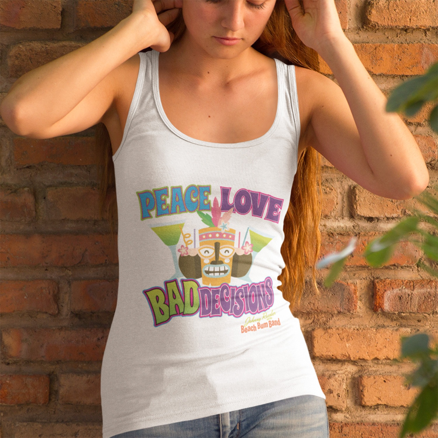 Beach Bum Band Peace Love and Bad Decisions Ladies Racerback Tank, The Troprock Shop