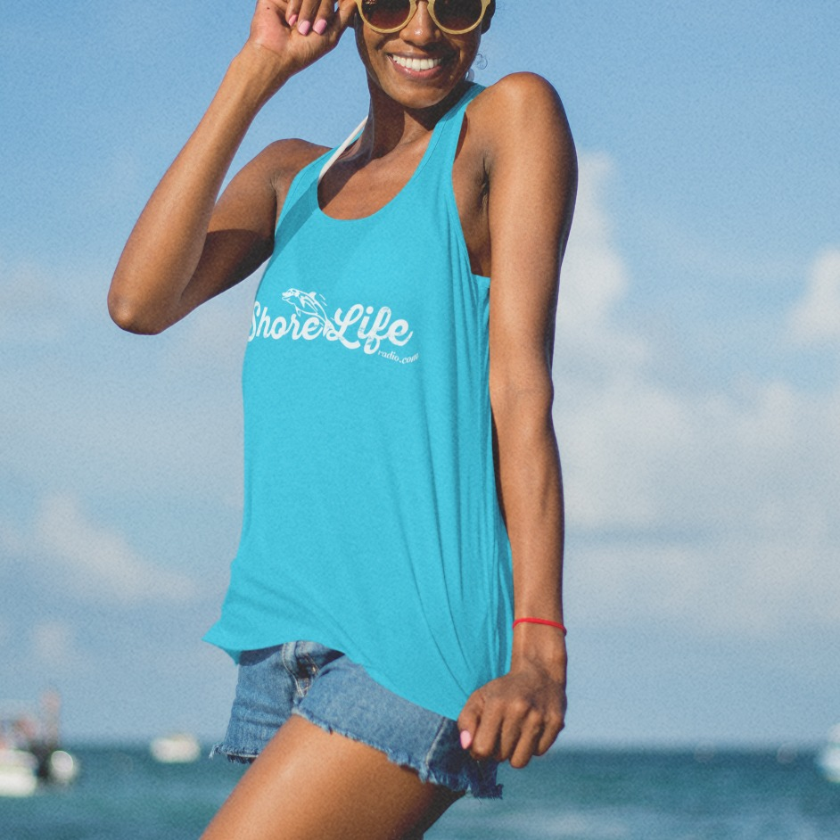 Shore Life Radio Dolphin Logo Ladies Racerback Tank, The Troprock Shop