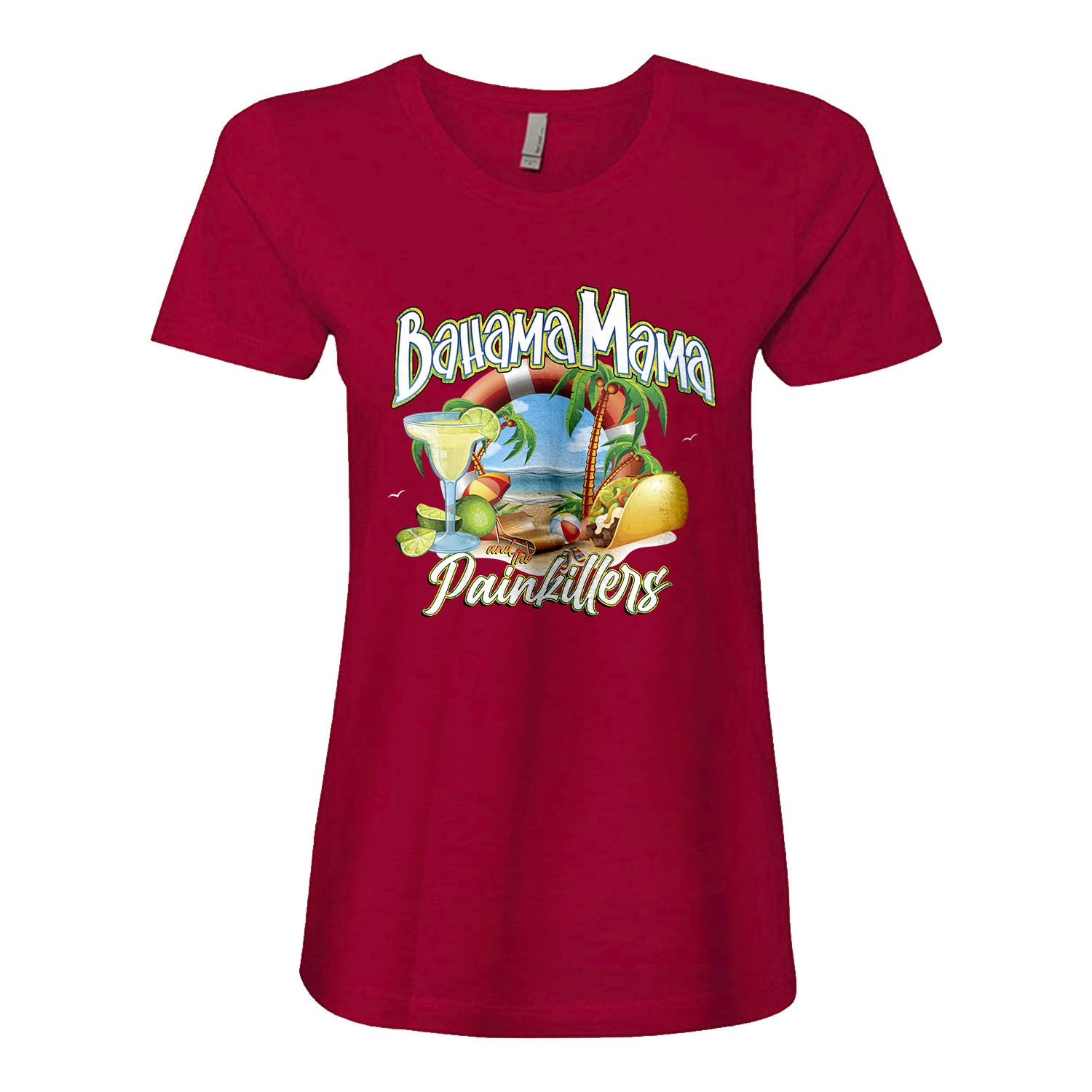 Bahama Mama and the Painkillers Double T Womens Fitted tee, The Troprock Shop