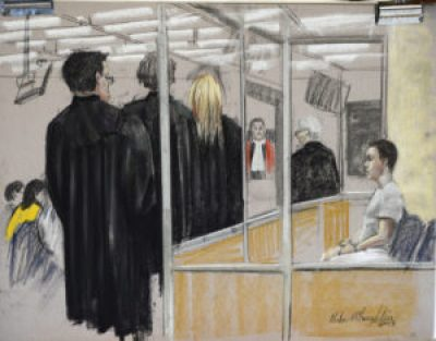 Luka Rocco Magnotta is seen in an artist's sketch in a Montreal court on Monday, March 11, 2013. A preliminary hearing is set to start for Magnotta, the man charged in connection with the infamous body-parts case that made international headlines.Magnotta's lawyers want the public and media barred from attending the hearing, which is to determine if there is enough evidence for a trial. THE CANADIAN PRESS/Mike McLaughlin