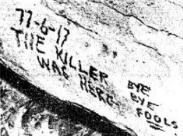 Image of the note left on a cave wall in the Oklahoma City Girl Scout murders