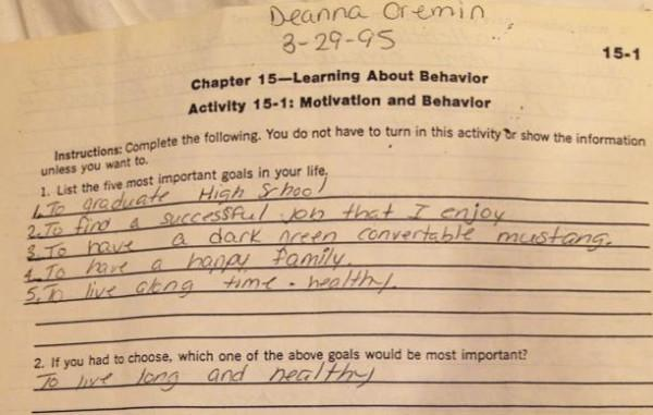 Image of Deanna Cremin's last school assignment she completed before she was murdered: 5 goals
