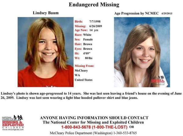 Age progression photo of missing person Lindsey Baum