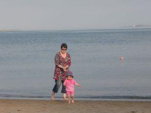 Linda on the beach in Fife
