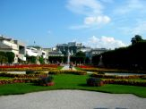Mirabell Gardens looking up to the fortress - Things to Do in Salzburg - The Trusted Traveller