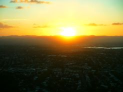 Sunsetting over Waitakere Rangers viewed from the SkyTower