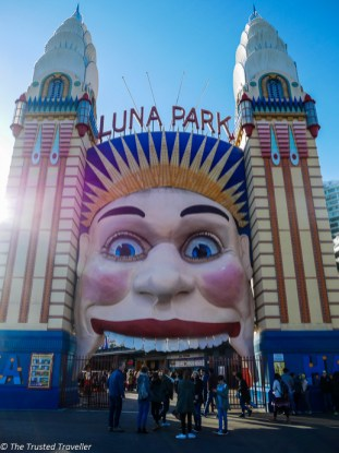The smiling entrance of Luna Park Sydney