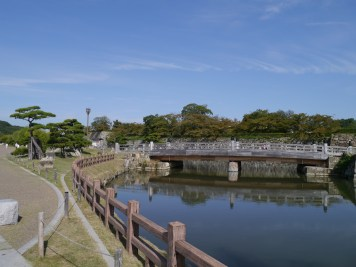 The moat around Himeji Castle
