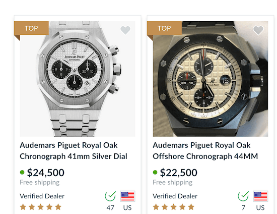 Chrono24 grail watch prices