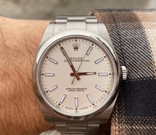 Rolex Oyster Perpetual 39 on wrist (courtesy thetruthaboutwatches.com)