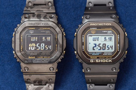 G-SHOCK GMW-B5000TB-1 & GMW-B5000TCM-1 Limited Full-Metal Titanium with DLC & Sapphire Crystal (courtesy g-central.com)