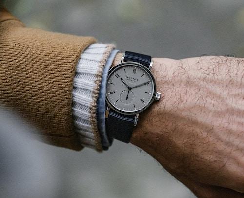 HODINKEE NOMOS Tangente Sport Limited Edition on wrist (courtesy shop.hodinkee.com)