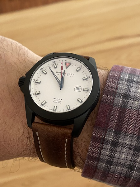 Hook + Gaff Sportsfisher Black on wrist (courtesy thetruthaboutwatches.com)