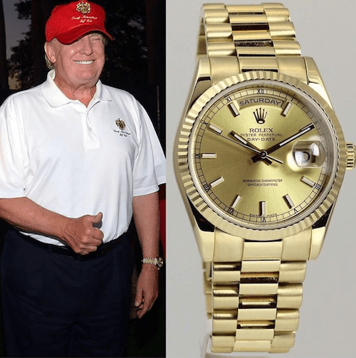 Donald Trump and gold Rolex Day-Date