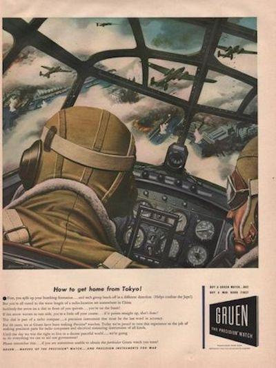 Gruen Watch Military Ad: over Tokyo 1942