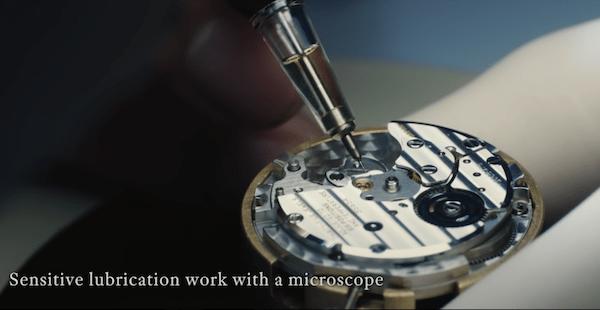Grand Seiko maintenance with microscope