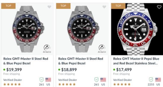 Chrono24 Rolex GMT listings