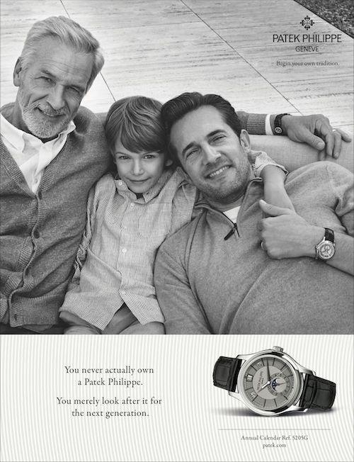 Patek Philippe ad selling luxury watch