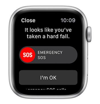 Apple Watch fall detection screen